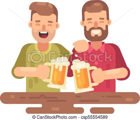 Two happy men drinking beer flat illustration on white background.