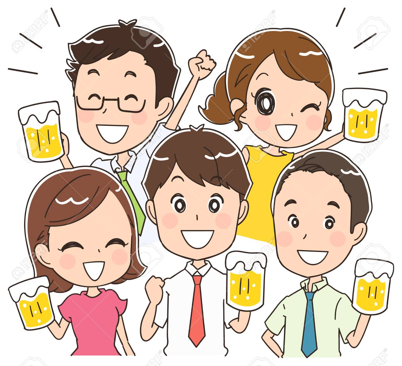 Men and women are drinking beer.