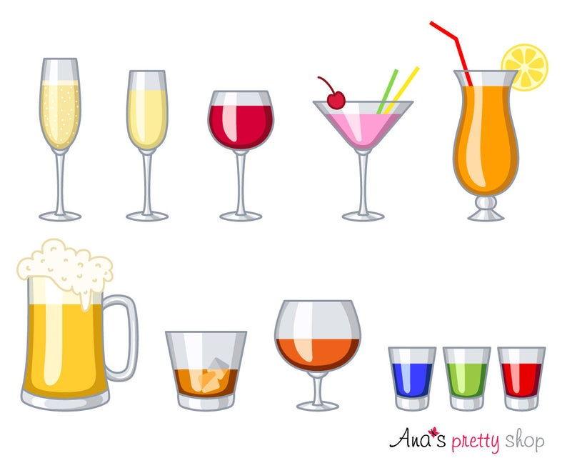 Alcohol glasses clipart, drinks, wine glass, champagne, martini, cocktail  glass, shot glasses, whiskey glass, cognac glass, beer glass.