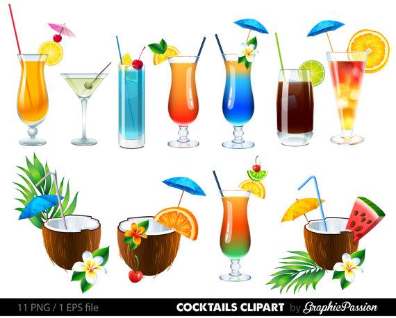 Summer Cocktails Clipart Cocktail Clip Art Summer Clipart Drinks.
