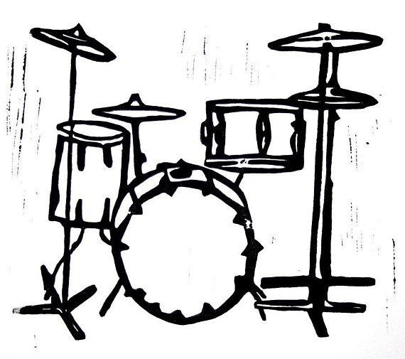 drum kit linoleum block print.