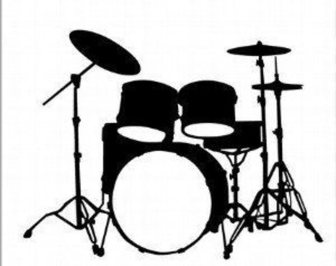Vinyl Wall Decal, Boy's Custom Name and Drum Set.