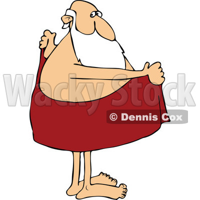 Cartoon of Santa Drying off with a Towel.