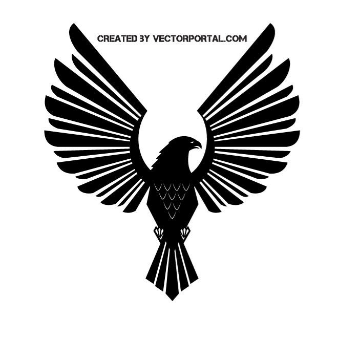 Eagle spread wings silhouette.