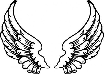 line art drawings of wings.
