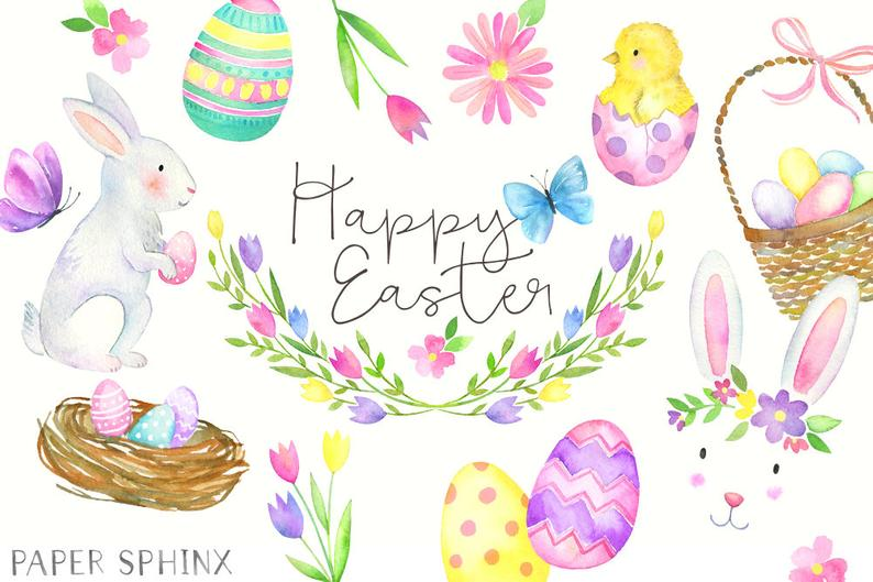 Watercolor Easter Clipart.