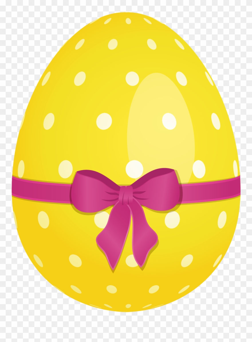 Yellow Dotted Easter Egg With Pink Bow Png Clipartu200b.