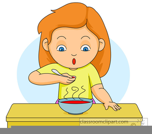 Girl Eating Dinner Clipart.