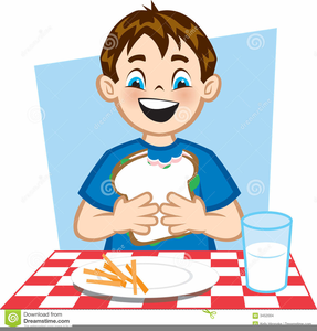 Child Eating Lunch Clipart.