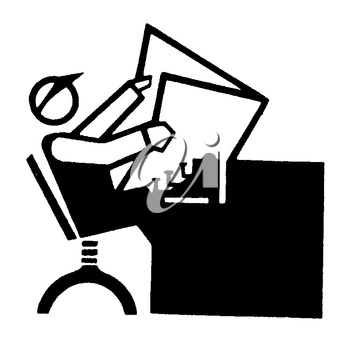 Royalty Free Clipart Image of an Editor Reading a Newspaper #1241228.