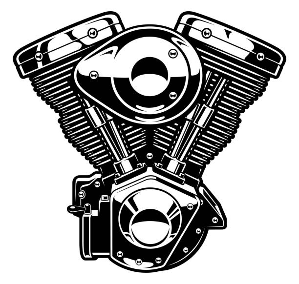Best Motorcycle Engine Illustrations, Royalty.