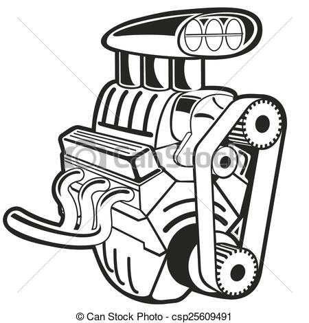 Vector engine. Vector illustration of the engine. clip art..
