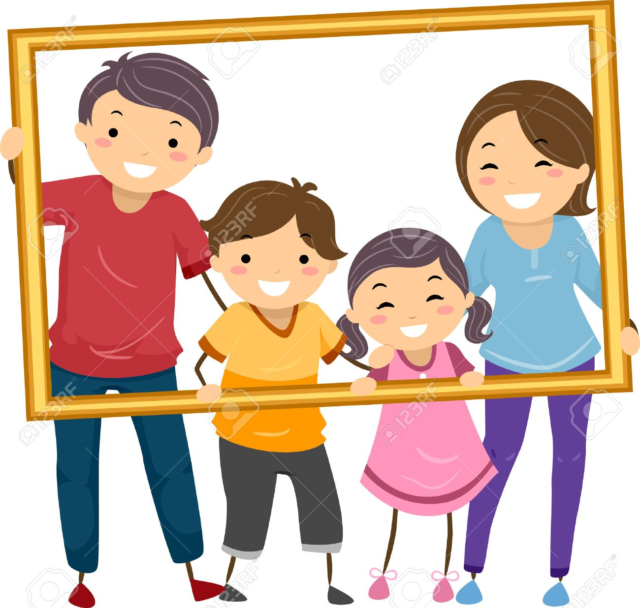 Illustration Featuring a Happy Family Holding a Hollow Frame.