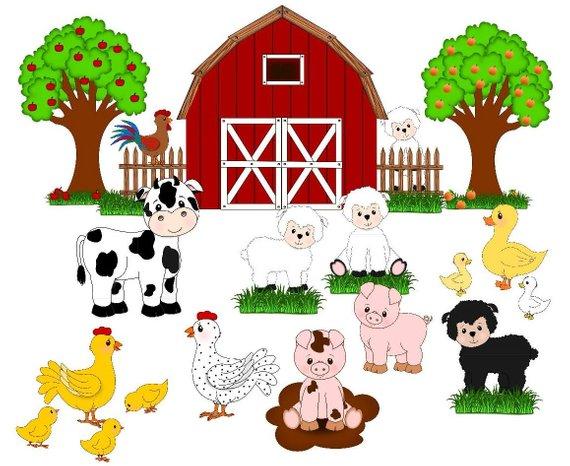 Farm animals , farm clip art, cute animals, barn,fruit trees.