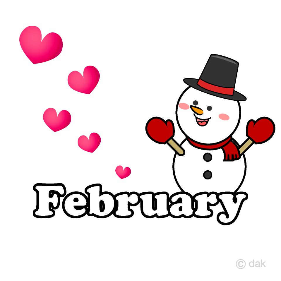 Snowman Heart February Clipart Free Picture Illustoon.