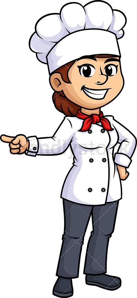 Female Chef Pointing Sideways.