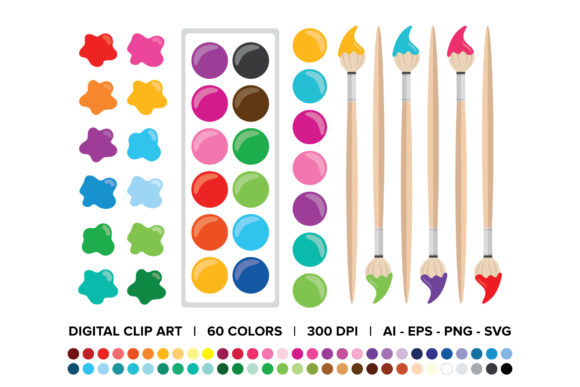 Paint Brush & Palette Clip Art Set.