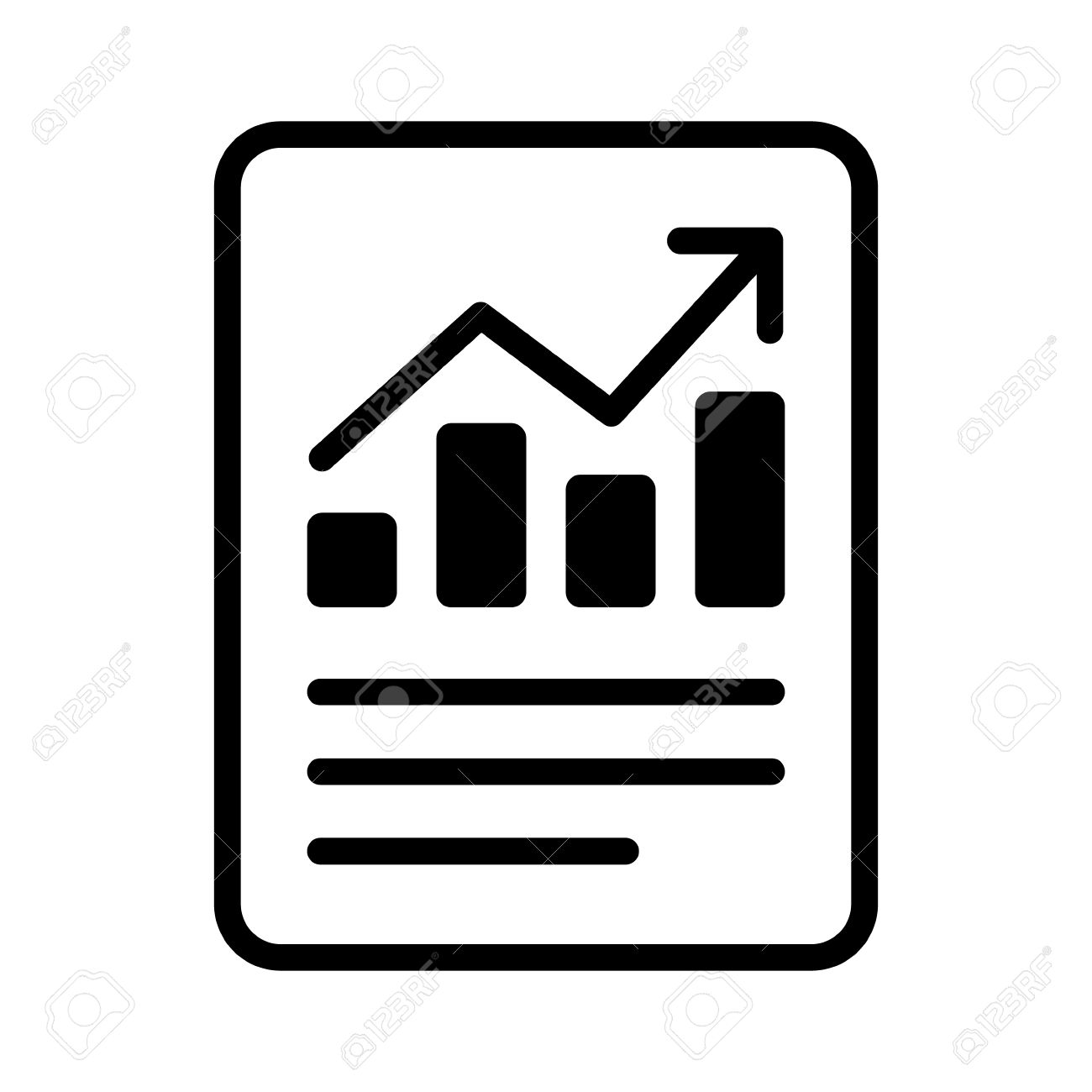 Financial report or income statement line art icon for apps and...