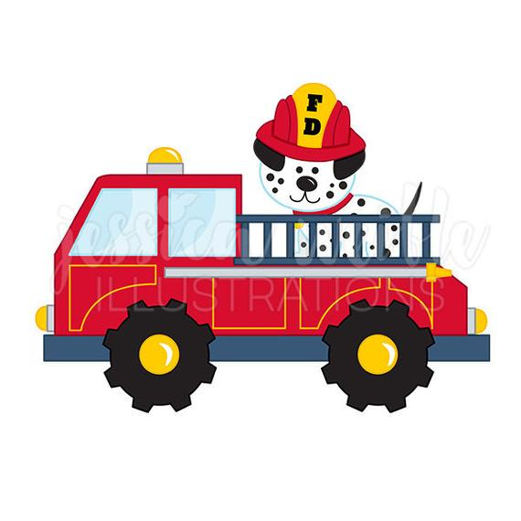 Fire Truck with Dalmatian Cute Digital Clipart, Fire Truck Clip art,  Firetruck Graphics, Fire Truck with Dalmatian Illustration, #125.