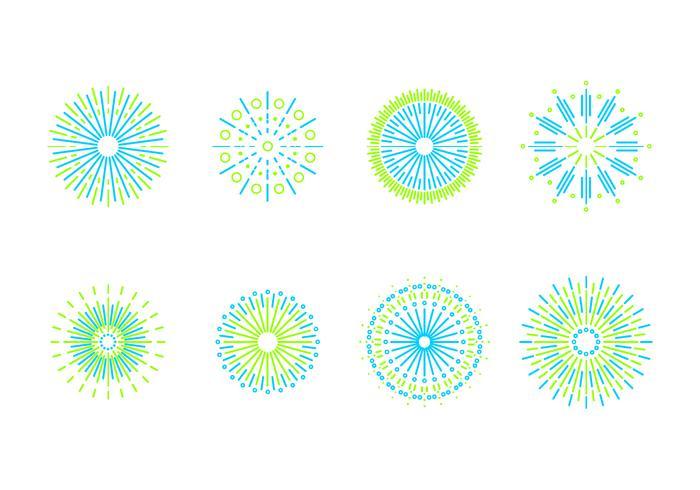 Line Art Fireworks Free Vector.