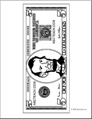 Clip Art: Five Dollar Bill Outline Front (coloring page) I abcteach.