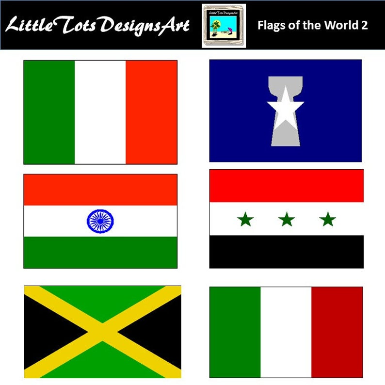 World Flag Clipart, Flag Clipart, Printable Flags, 135 PNG Images, Instant  Download.