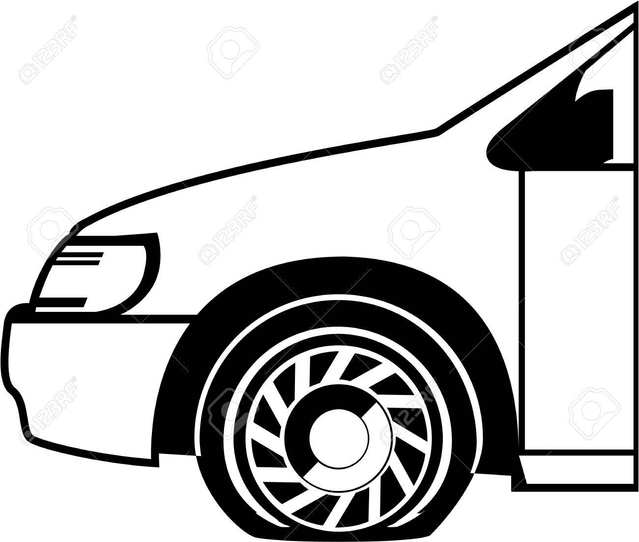 Flat tire black and white vector illustration clip.