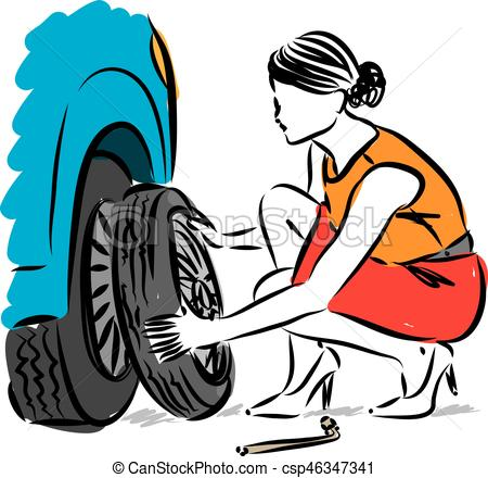 woman changing flat tire vector illustration.
