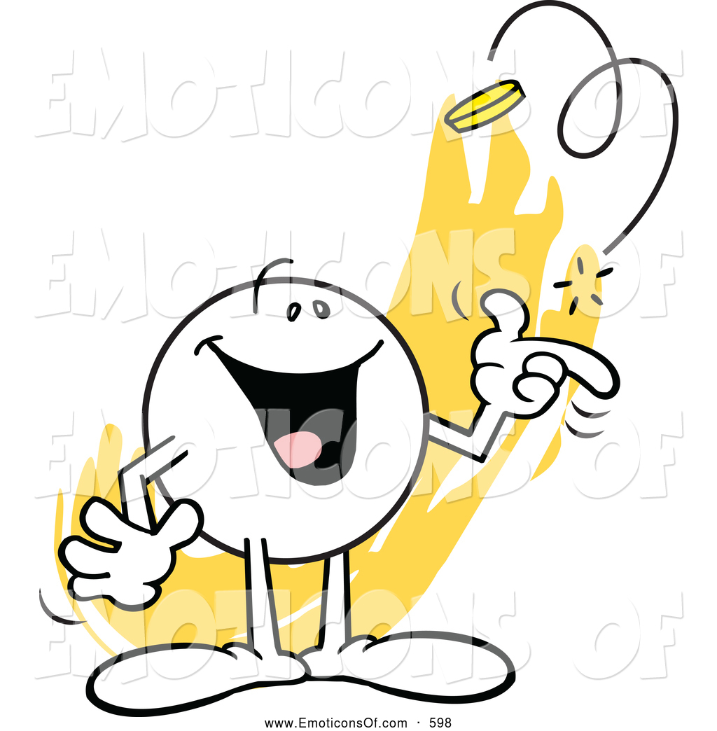 Clip Art Vector Cartoon of a Friendly Happy Moodie Character.