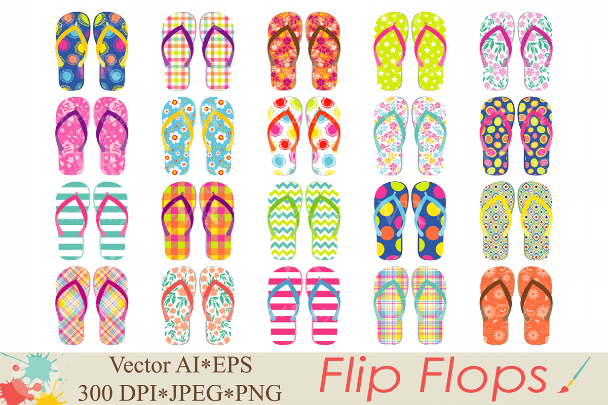 Flip Flops Clipart Beach shoes graphics Summer vector illustration.