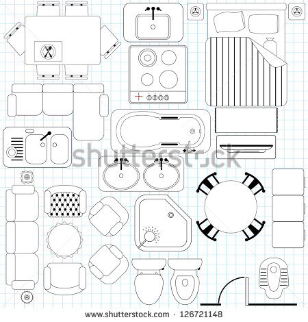 Outline Vector Simple Furniture Plan Floor Stock Vector 126721148.