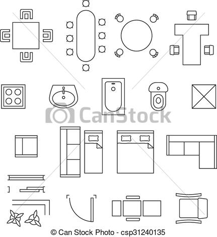 Vectors of Furniture linear vector symbols. Floor plan icons set.