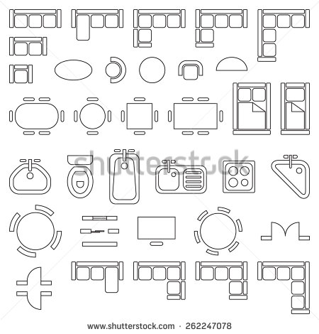 Standard furniture symbols used in architecture plans icons set.