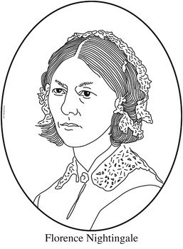 Florence Nightingale Clip Art, Coloring Page or Mini Poster.