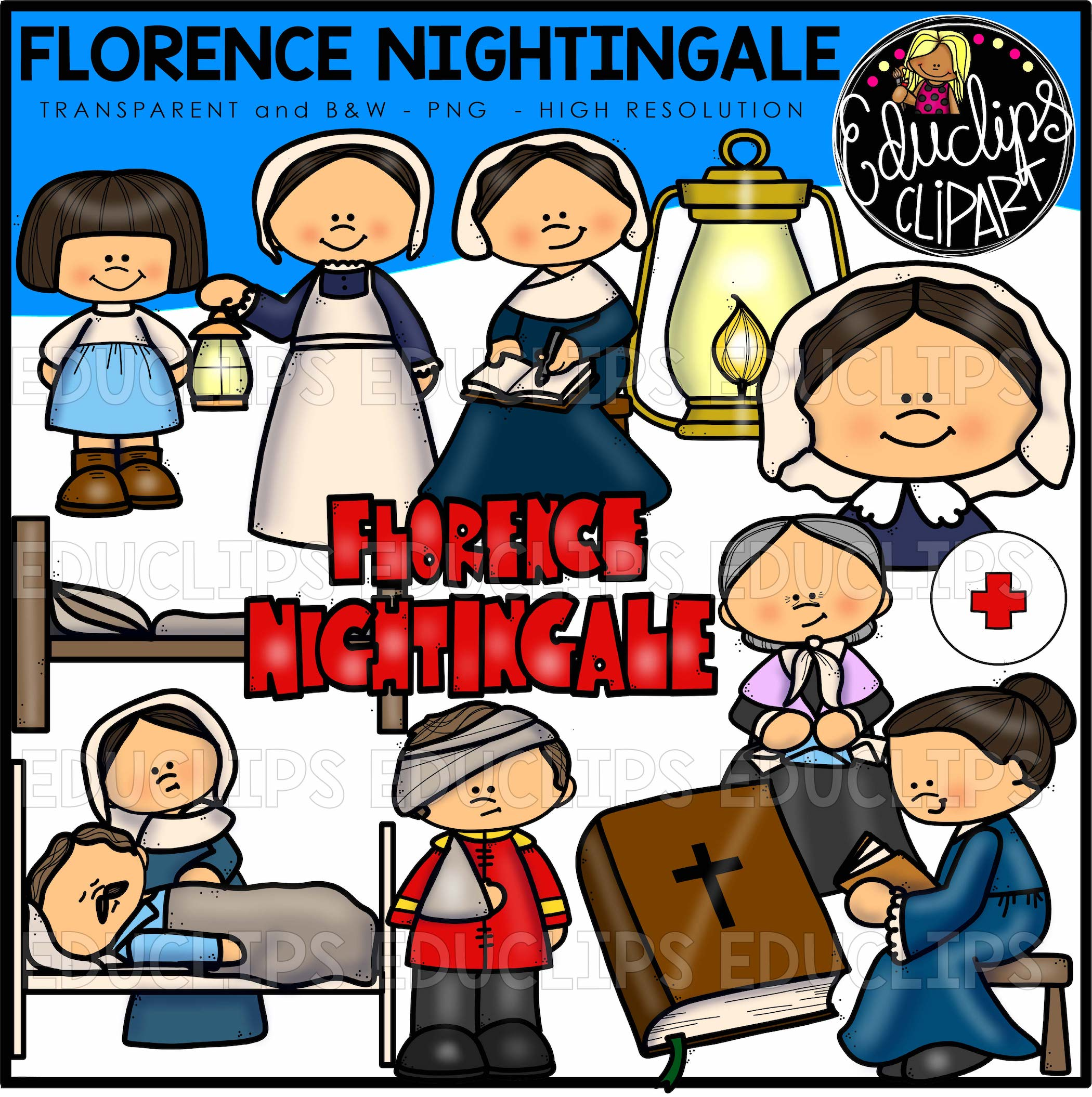 Florence Nightingale Clip Art Bundle (Color and B&W).