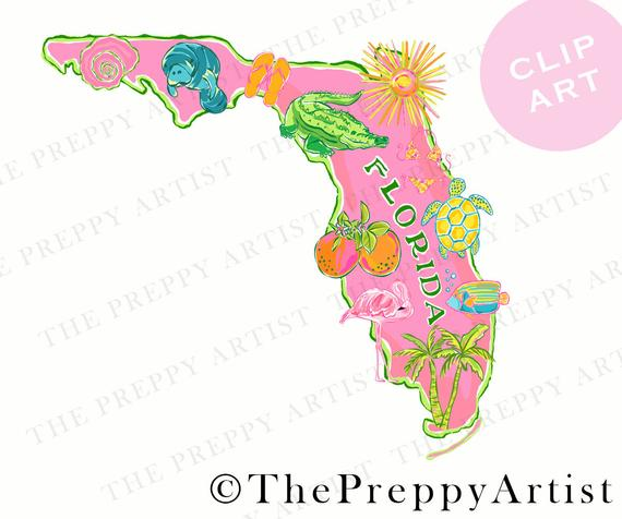 Preppy printable florida map clipart, florida clip art, turtle, oranges,  manatee, preppy florida state map png, cricut print and cut.