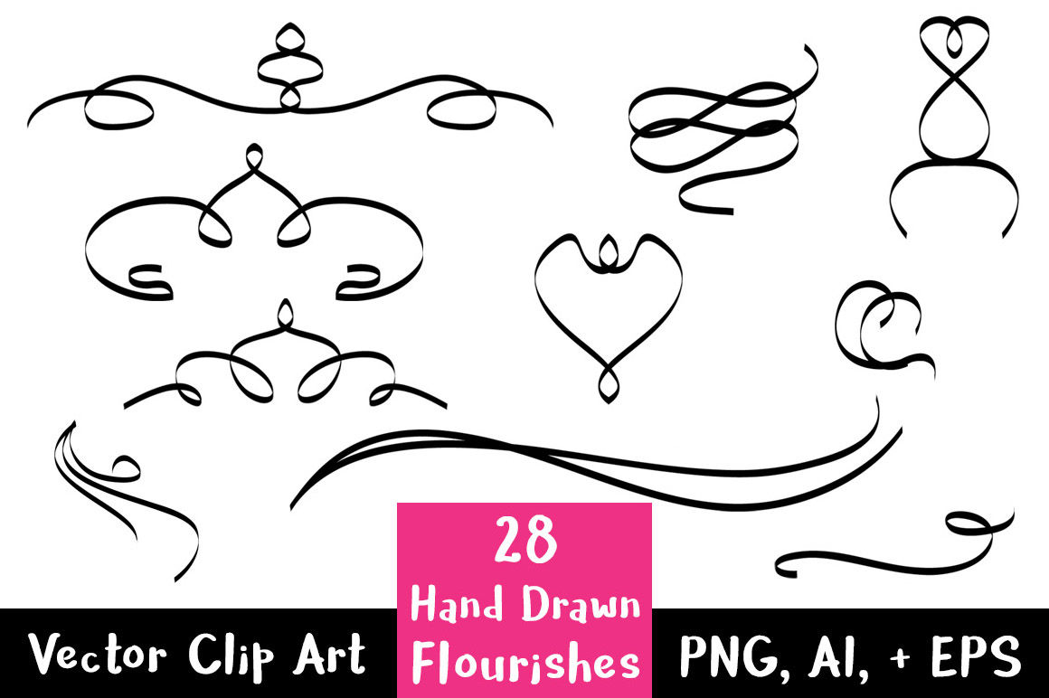 28 Hand Drawn Flourishes, Flourish Clipart, Wedding Clipart.
