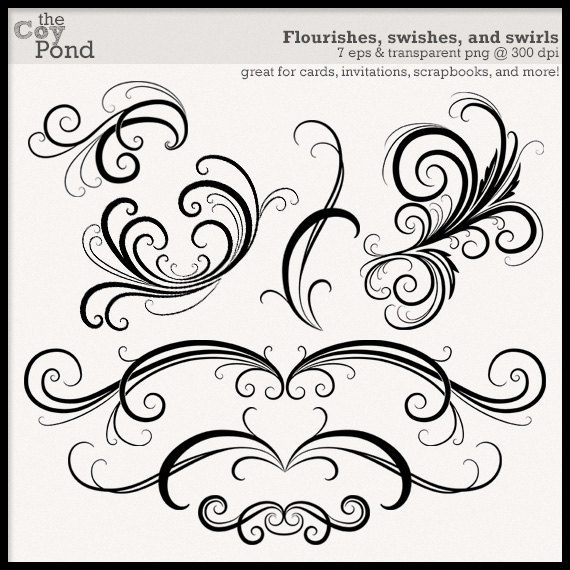INSTANT DOWNLOAD Flourish and Swirl Clip Art by TheCoyPond.