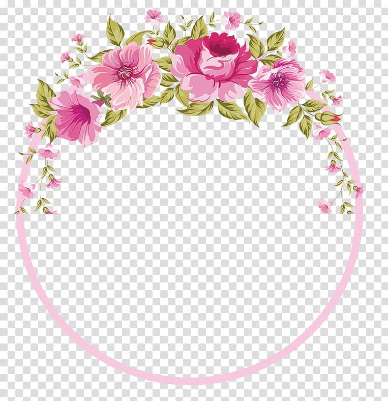 Flower , Flowers Border, pink and green flowers border transparent.