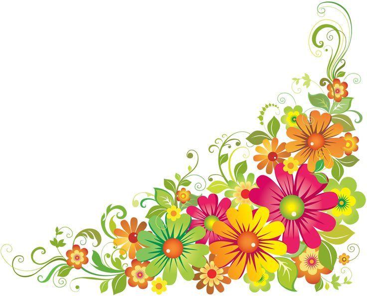 Horizontal Flower Border Clipart.