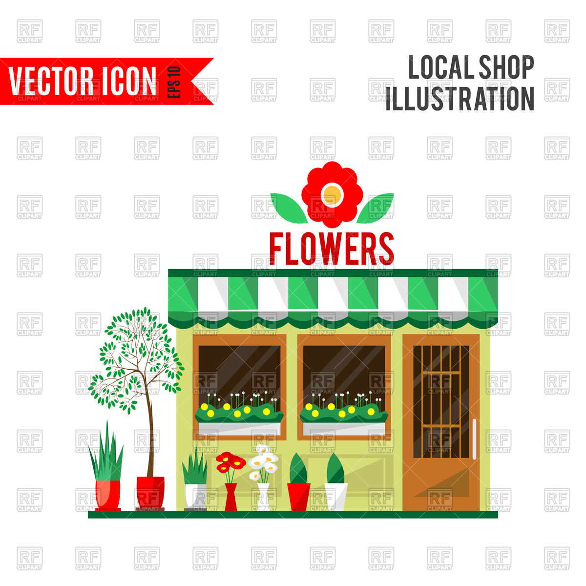 Flowers shop Stock Vector Image.