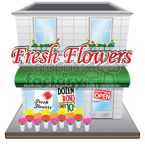 vintage flower shop clipart. Royalty.
