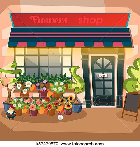 Flower shop facade flat design Clipart.