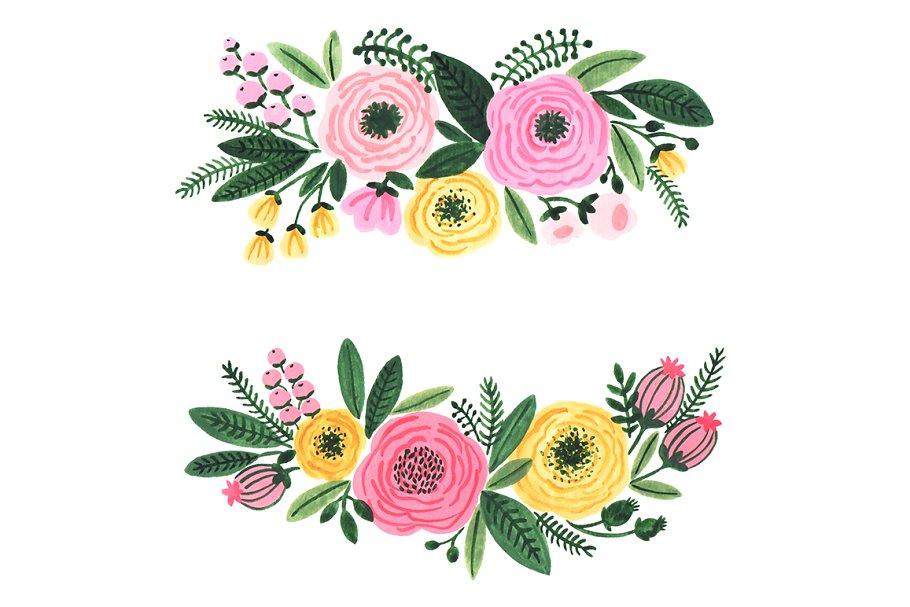Watercolor garden flowers clipart.