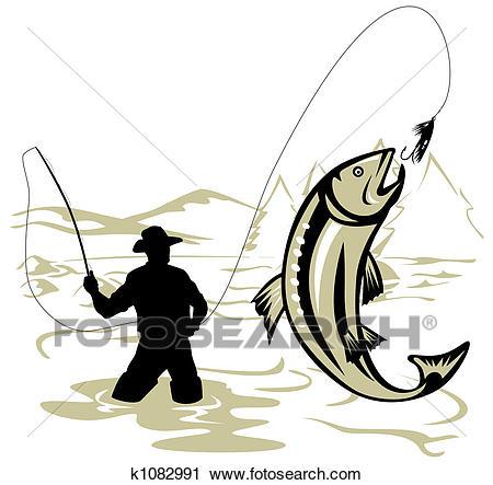 Fly fishing Clip Art.