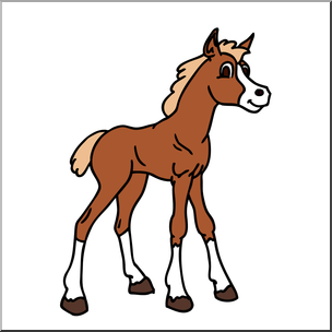 Clip Art: Cartoon Horse: Foal Color I abcteach.com.
