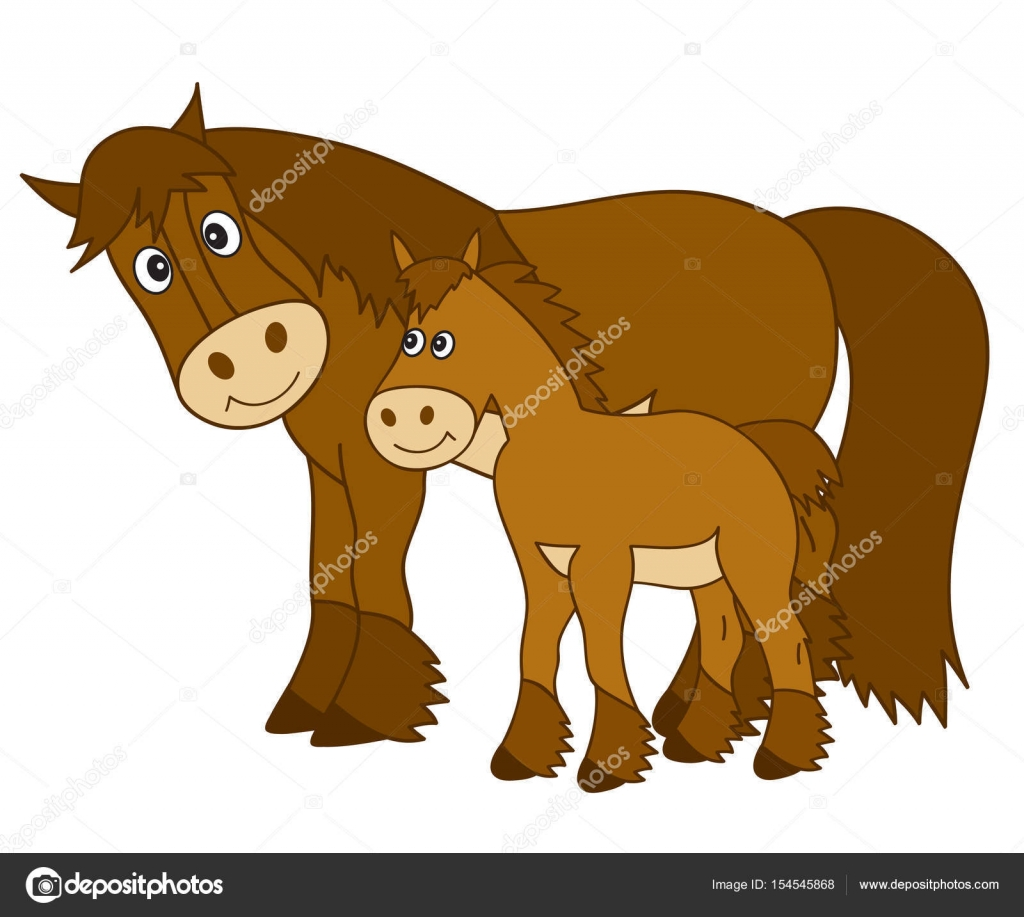 Vector Cartoon Horse with Foal, Horse Clipart — Stock Vector.