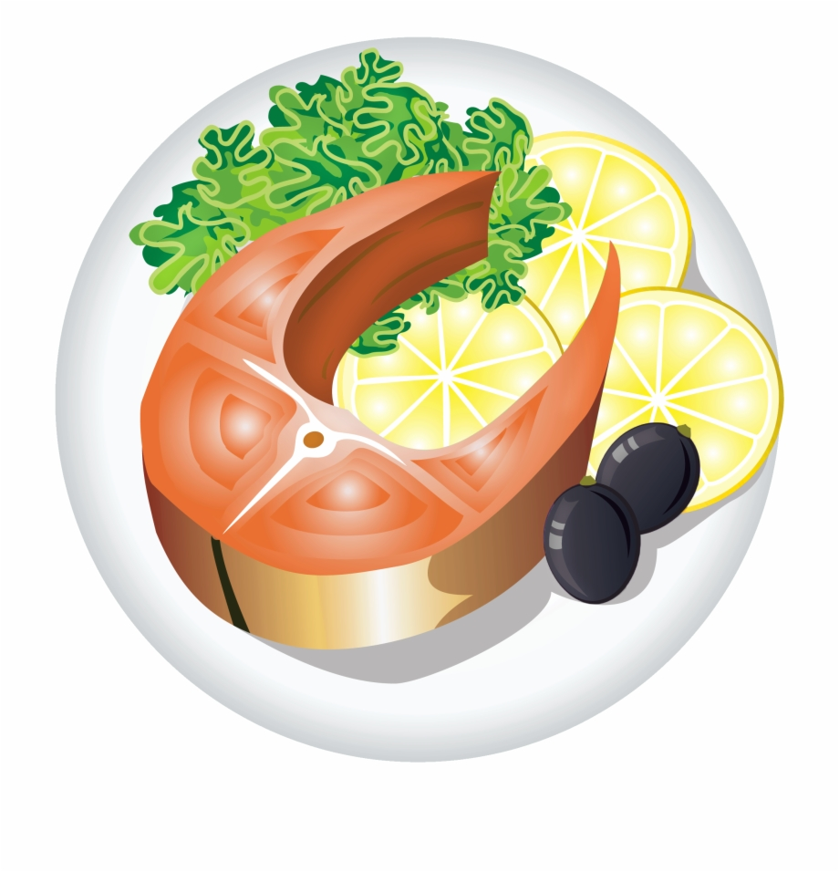Fish Dish With Lemon Png Clipart Image.