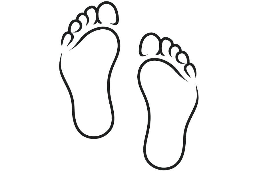 Clip Art Of Feet Foot Black And White Clip Art Feet Line Chart.