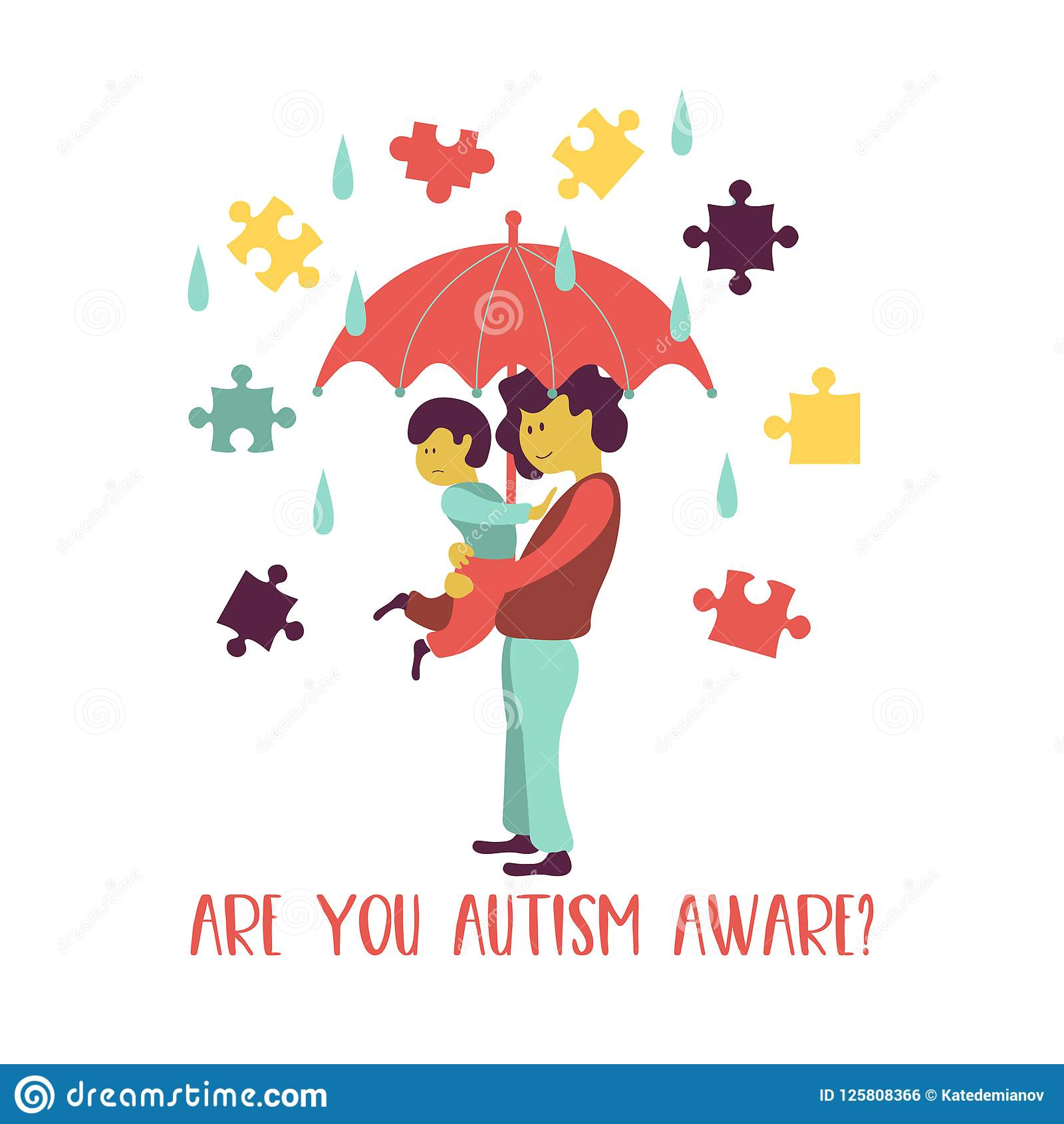 Autism. The Emblem Of The Syndrome Of Autism In Children. Children.